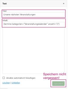 Der Screenshot zeigt das Textwidget mit ausgefüllten Textboxen für Titel und Inhalt