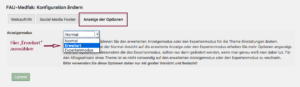 Der Screenshot zeigt das Dropdown-Menü zum Umstellen des Anzeigemodus für die Theme Options