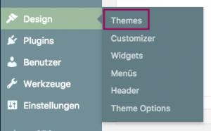"Menüleiste mit offenem Flyout des Menüs ""Design"". Punkt ""Themes"" ist hervorgehoben."