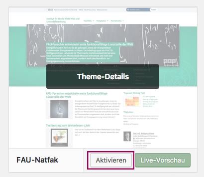 Screenshot aus der Theme-Übersicht mit den Schaltflächen Theme-Details, Aktivieren und Live-Vorscha.