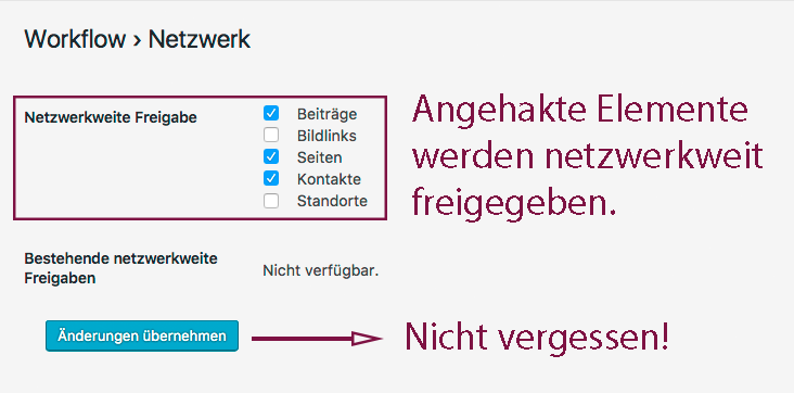 Screenshot mit ausgewählten Checkboxen für Beiträge, Seiten und Kontakte. Nicht vergelssen, die Änderungen zu übernehmen!