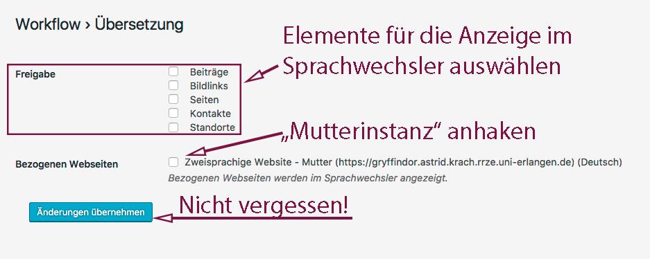 """Der Screenshot zeigt die Auswahl unter """"Übersetzung"""" mit den angehakten Elementen und der ausgewählten """"Mutterinstanz""""."""