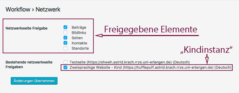"""Screenshot mit ausgewählten Elementen und ausgewählter """"Mutterinstanz"""". Änderungen übernehmen nicht vergessen!"""