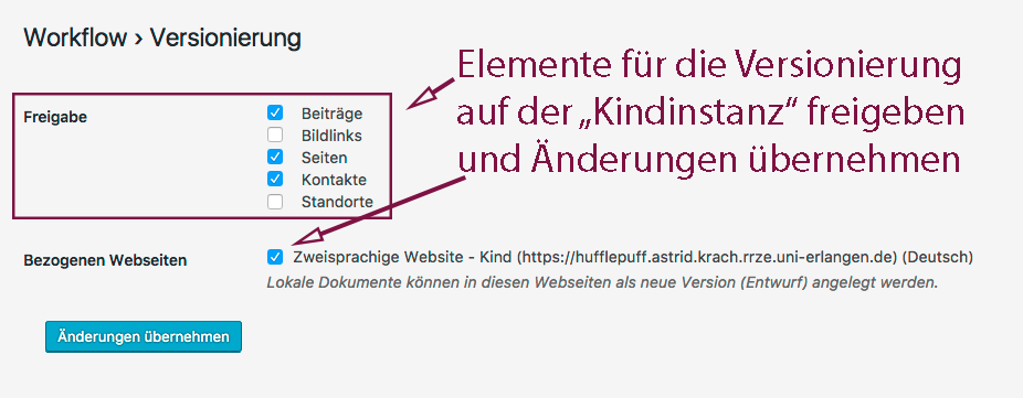 Auf dem Screenshot sind die Elemente ausgewählt und die Kindinstanz ist angehakt. Änderungen übernehmen nicht vergessen!