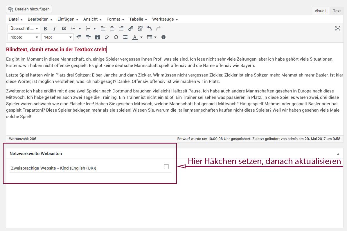 """Screenshot von der Texteingabebox und der darunterliegenden Metabox """"Netzwerkweite Webseiten"""" mit Hinweis auf die Checkbox, die ausgewählt werden muss."""