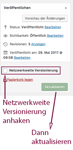 """Screenshot der Metabox """"Veröffentlichen"""" mit Hervorhebung der Checkbox für die netzwerkweite Versionierung und Hinweis auf den Aktualisieren-Button."""