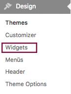 "Screenshot des Menüs ""Design"" mit Hervorhebung des Menüpunkts ""Widgets"""