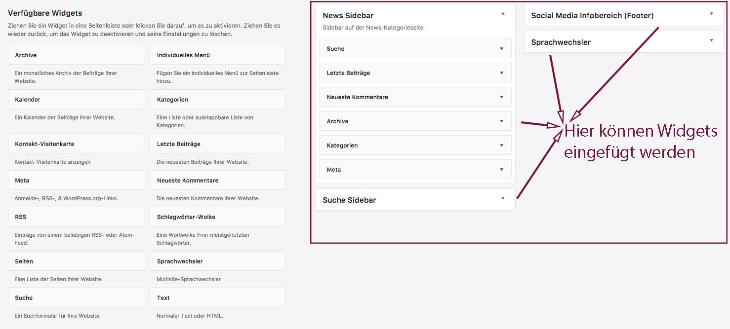 Screenshot einer Übersicht über die Widgets und die Möglichkeiten, sie einzufügen
