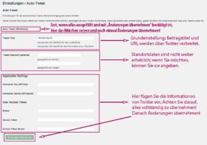 """Screenshot der Oberfläche """"Einstellungen"""" für das Plugin """"Autotweet"""". Erläuterungen im folgenden Text."""