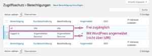 """Übersicht über die in der Grundeinstellung vorhandenen Berechtigungen """"all"""" und """"logged in""""."""