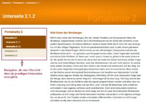 Screenshot von derselben Unterseite wie oben, aber diesmal mit Navigation an der linken Seite, die übersichtlich die vorhandenen Seiten zeigt und auch die Unterseiten im angesurften Bereich.