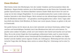 Screenshot von einer Seite mit etwas Blindtext, am Seitenende die Buttons mit den Ziffern eins, zwei und drei zum Weiterblättern.