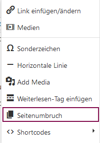 """Der Screenshot zeigt die Position des Menüpunkts """"Seitenumbruch"""""""