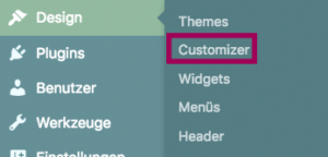 Position des Customizers im Backend-Menue (2. Position nach Themes)