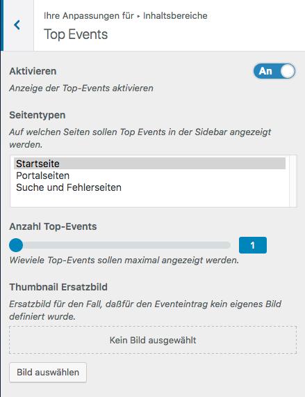 Screenshot aus dem Customizer mit der visuellen Darstellung der Anpassungen für die Top Events