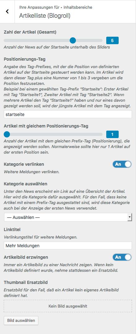 Screenshot aus dem Customizer mit der Übersicht über die möglichen Einstellungen für die Artikelliste