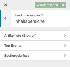 """Screenshot des Bereichs """"Ihre Anpassungen für Inhaltsbereiche"""" aus dem Customizer mit der Auswahl Artikelliste (Blogroll), Top Events und Suchergebnisse"""