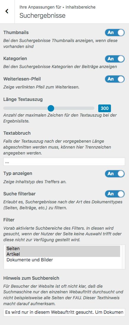 Screenshot von der Übersicht für Anpassungen der Suchergebnisse im Customizer