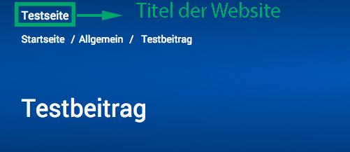Der Screenshot zeigt den Titel der Website oberhalb der Breadcrumb