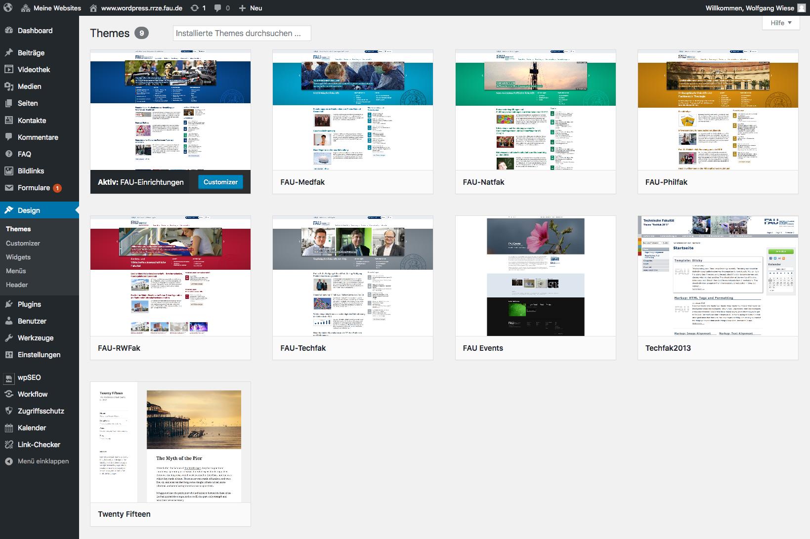 Screenshot der Standardauswahl von THemes im Backend von WordPress