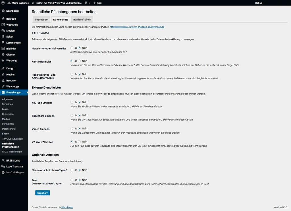 Das Screenshot zeigt das Backend der Konfiguration des ToS-Plugin in den Einstellungen zum Datenschutz. Es handelt sich um ein Beispielbild.