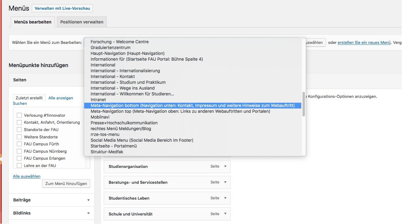 SCreenshot zur Auswahl eines vorhandenen Menüs im WordPress Backend