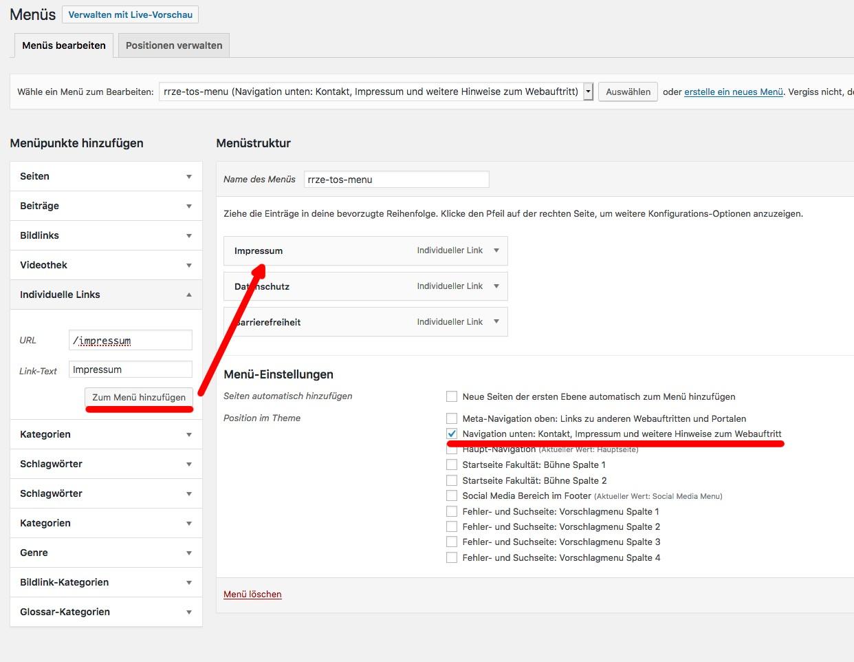 Screenshot über das Hinzufügen eines individuellen Links zu einem Menu