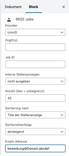 Plugin RRZE-Jobs Gutenberg Block Einstellungen