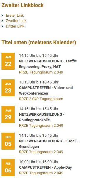 Seitenleiste Frontend Kalender Beispiel