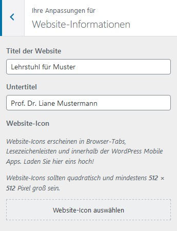 Informationen zur Website füllen