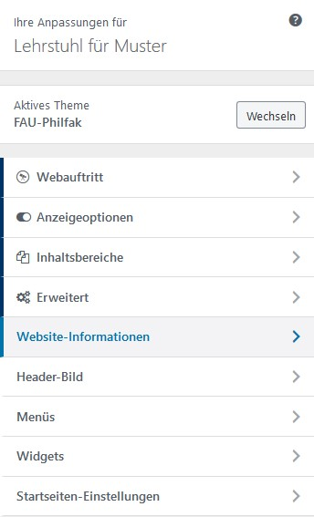 Menü Website-Informationen