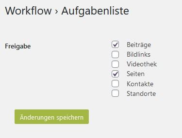 Einstellungsseite der Workflow-Aufgabenliste
