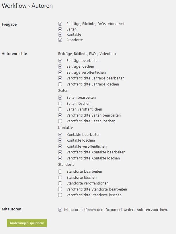 Workflow autoren einstellungen