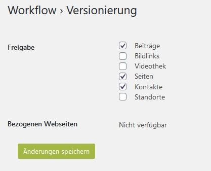 Einstellungsseite für die Workflow-versionierung