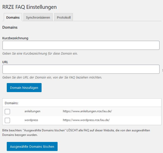 FAQ Einstellungen Screenshot