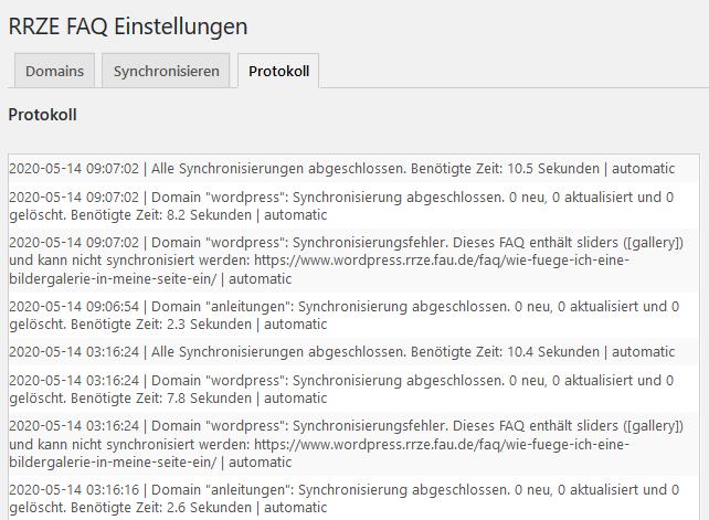 FAQ Protokoll Screenshot
