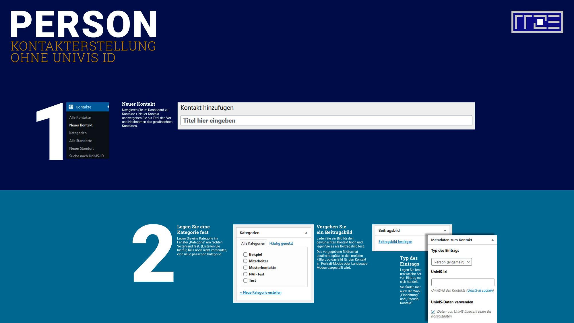 Kontakt erstellen ohne Univis Schaubild Schritte 1 und 2