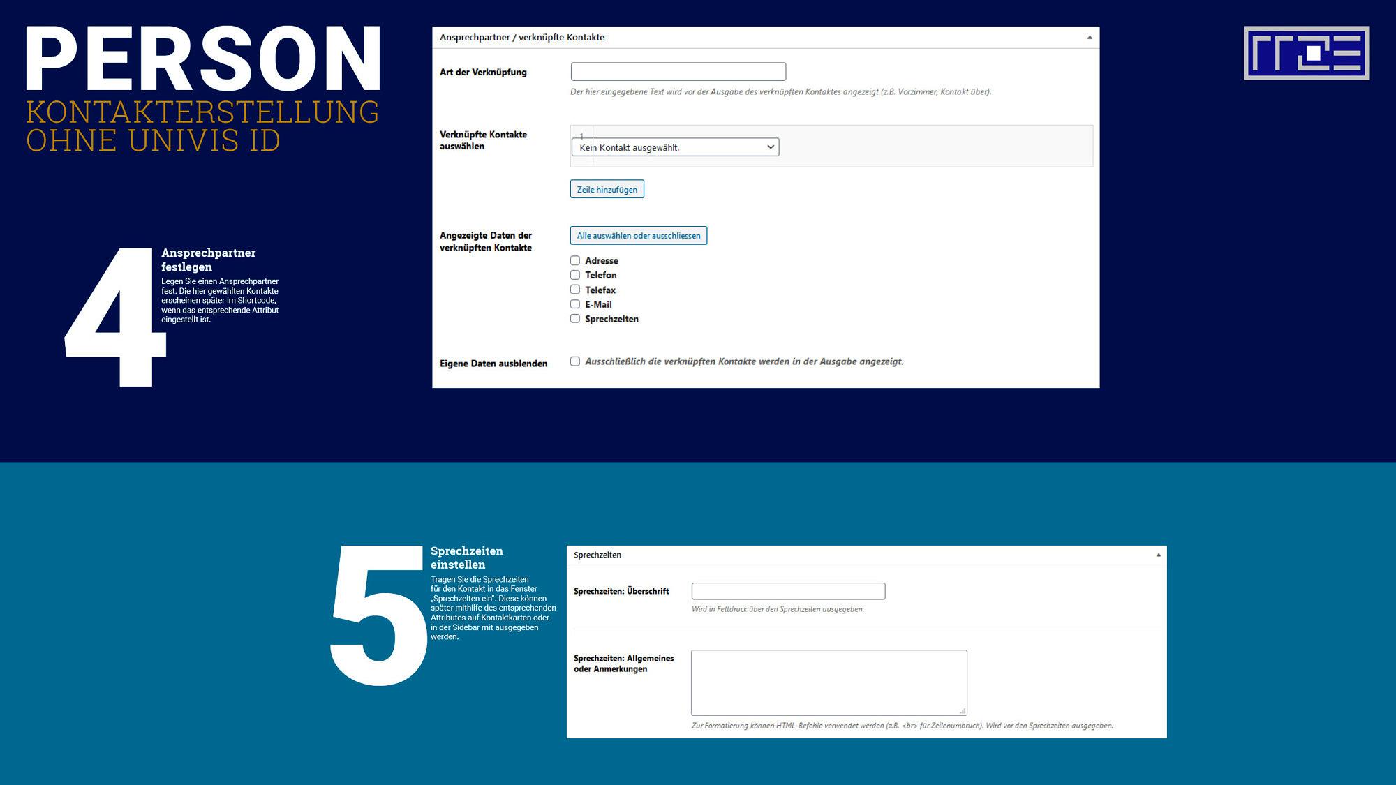 Kontakt erstellen ohne Univis Schaubild Schritte 4 und 5