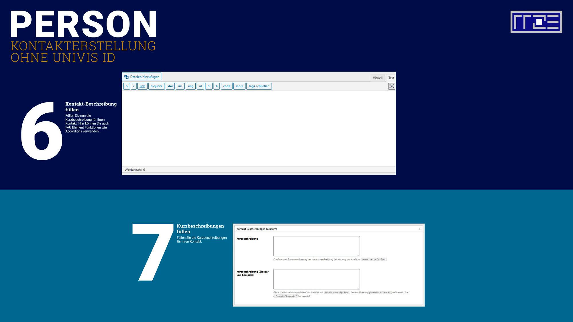 Kontakt erstellen ohne Univis Schaubild Schritte 6 und 7
