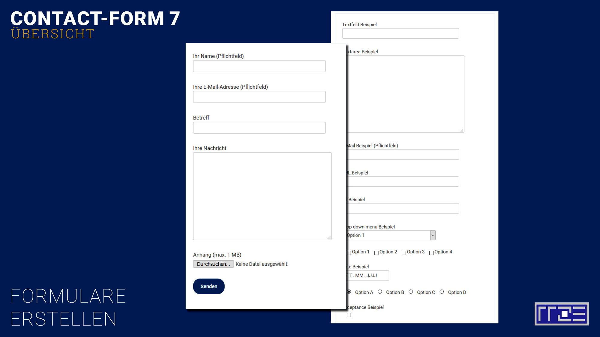 Contact Form Überblicktafel