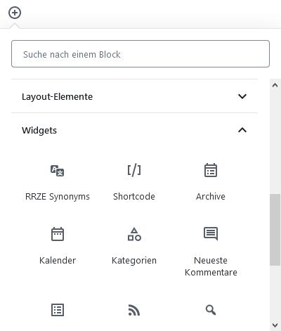 Gutenberg Blockwahl