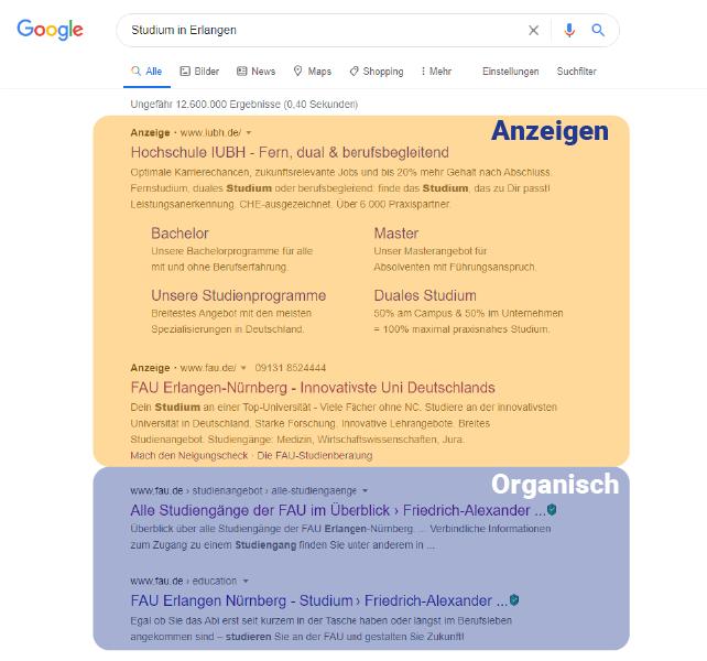 """Ausgabe der Google-Suche nach Eingabe des Suchbegriffs """"Studium in Erlangen"""""""