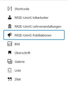 UnivIS Blocklibrary Gutenberg nach Drücken der Taste /