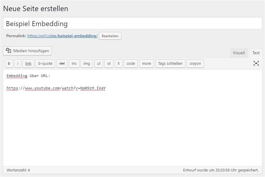 Embedding über URL - Codeansicht des Editors