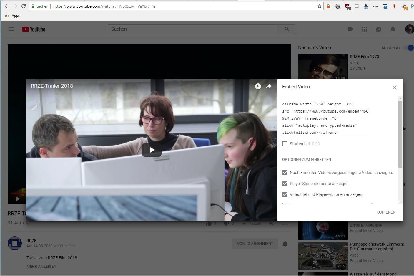 Embedding eines Videos von YouTube