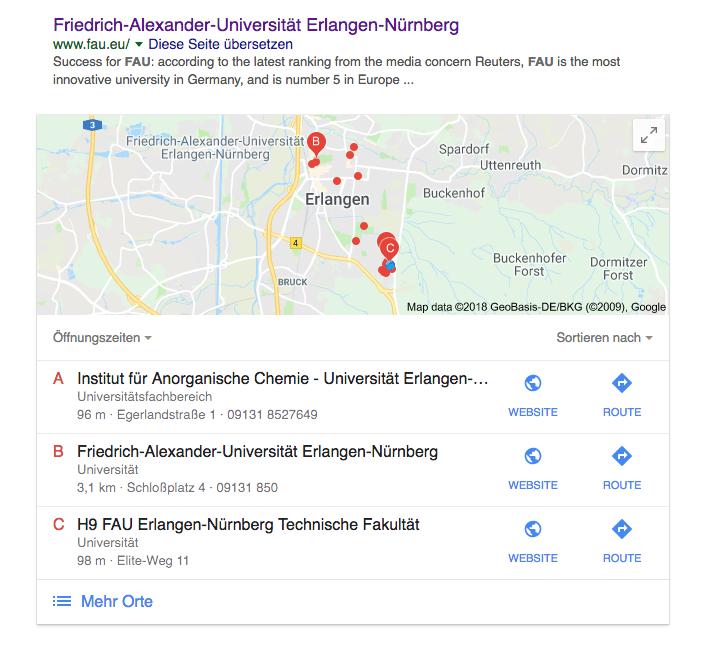 Anzeige der Öffnungszeiten von Teilen der Universität bei der Ausgabe einer Suche mit Google