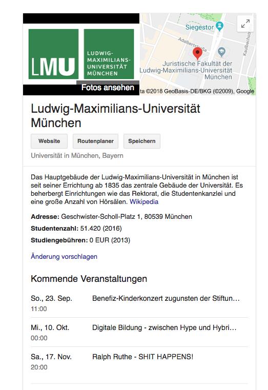 Anzeige der kommenden Veranstaltungen der LMU