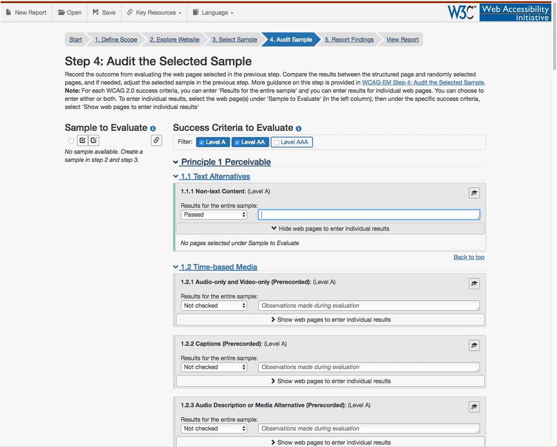 Screenshot WCAG-EM Report Tool