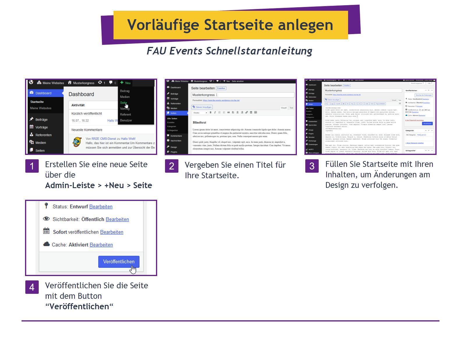 Schritte zum Erstellen einer Startseite