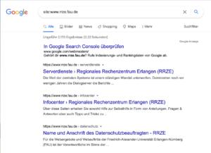 Mit der Google-Suchfunktion lässt sich überprüfen, ob die eigene Homepage bereits indexiert worden ist.